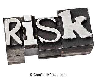 risk word in metal type