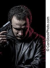 riskera, tjuv, beväpnat, man, med, svart leather klå upp, farlig