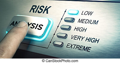 Risks analyze, low risk - man finger about to press an ...