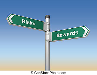 risks rewards road sign