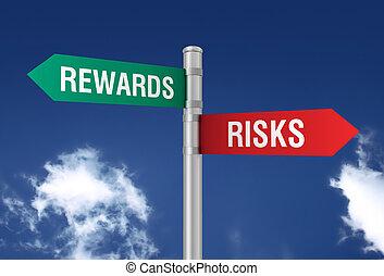 risks rewards road sign 3d illustration