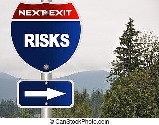 Risks road sign