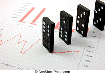 risky domino over a financial business chart