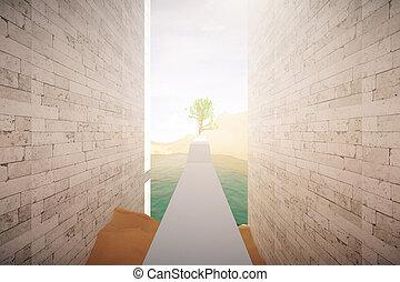 Risky road to success. Dangerous concrete path with...