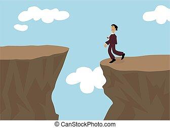 Risky - Business man contemplating a risky move up. Concept...