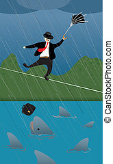 Risky tightrope - Business man facing risky challenge