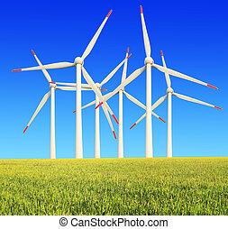riso, fattorie, moderno, turbine vento