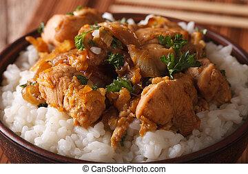 riso, macro., ciotola, giapponese, oyakodon, orizzontale, food: