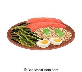 riso, piastra, fagioli, vettore, ceramica, salmone,...