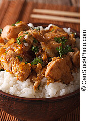 riso, verticale, macro., ciotola, giapponese, oyakodon, food: