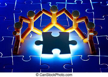risolvere, puzzle, lavoro, problema, squadra