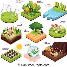risorse, naturale, isometrico, set