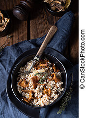 risotto, champignons, kaszotto-, orge, polonais, groats