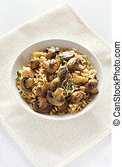 risotto, com, cogumelos, vista superior