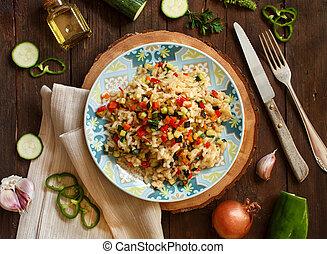 risotto, com, legumes, vista superior