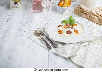 risotto, mit, kirsch tomaten, und, rose wein, kopieren platz