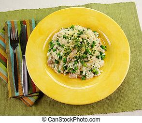 Risotto - Delightful chicken and pea risotto ready to serve.