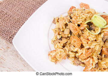 Risotto with mushrooms and chicken