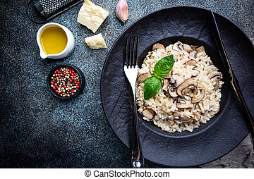 Risotto with mushrooms in a plate