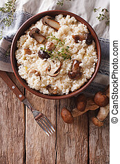 risotto with porcini mushrooms and thyme close-up. Vertical...