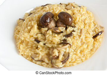 plate of risotto with mushrooms isolated on white background with clipping path