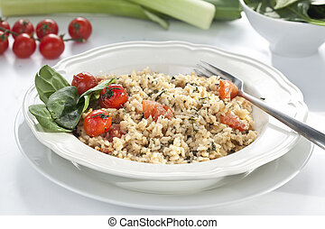 risotto with spinach and tomatoes