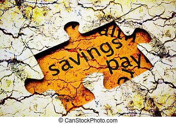 risparmi, concetto, puzzle