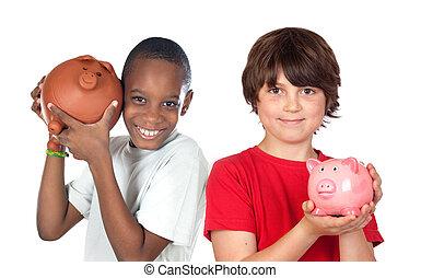 risparmi, felice, bambini, due, moneybox