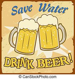 risparmiare, acqua, birra, manifesto, vendemmia, bevanda