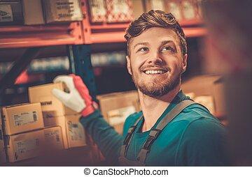 risparmiare, automobilistico, magazzino, parti, lavoratore