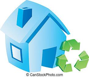 risparmiare, casa, simbolo.