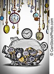 risparmiare, concetto, tempo