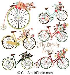 risparmiare, date, fiori, carino, bicycles, set, vettore, design., ideale