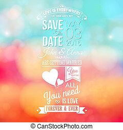 risparmiare, invito, holiday., matrimonio, personale, data, ...