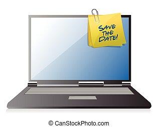 risparmiare, palo, promemoria, computer, data