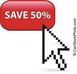 risparmiare, percento, scatto, cinquanta