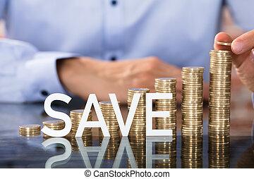 risparmiare, testo, davanti, monete, pila