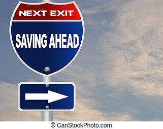 risparmio, avanti, segno strada