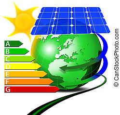 Risparmio energetico - Globo terrestre con pannello...