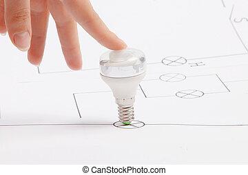 risparmio, luce, energia, mano, bulbo, fluorescente