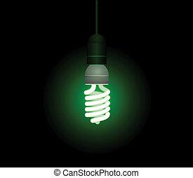 risparmio, luce, energia, -, vettore, fluorescente, editable, bulbo