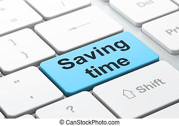 risparmio, tempo, computer, fondo, tastiera, concept: