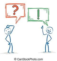 risposta, domanda, stickman, bolle, 2, discorso