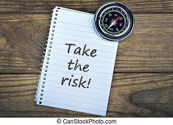 risque, bois, texte, prendre, compas, table