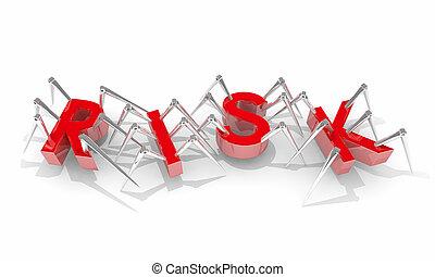 risque, danger, bogues, illustration, avertissement, sécurité, araignées, sécurité, 3d
