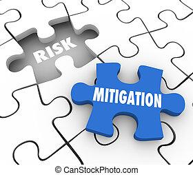 risque, danger, puzzle, réduire, morceaux, réduction, sécurité, problème