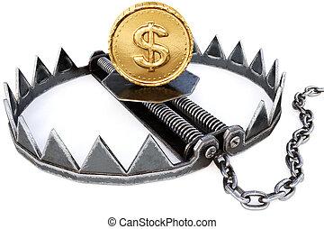 risque financier, business, concept., pièces, arrière-plan., piège, blanc