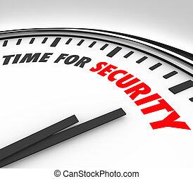 risque, horloge, gérer, sécurité, mots, temps, sécurité