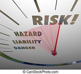 risque, niveau, danger, danger, responsabilité, mots, mesure, compteur vitesse