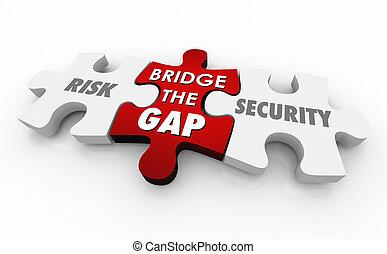 risque, puzzle, illustration, morceaux, vs, sécurité, mots, sécurité, 3d